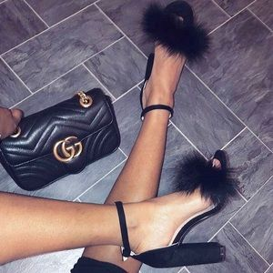 Shoes - BLACK FLUFFY HEELS | Sexy and Fun Faux Fur Heels